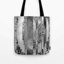 Monochrome Geometric Stripes And Circles Tote Bag