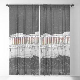 Parthenon black and white Sheer Curtain