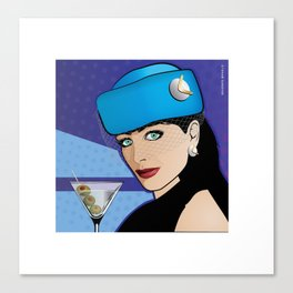 Beautiful Pop Art Girl with Martini and Stewardess Hat Canvas Print