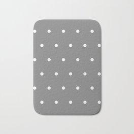 Grey With White Polka Dots Pattern Bath Mat
