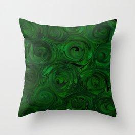 Emerald Green Roses Throw Pillow