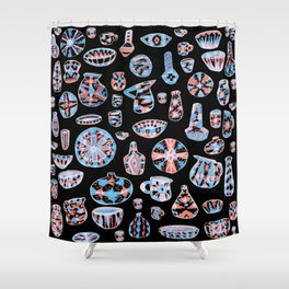 Pastel Neon Pottery on Black Shower Curtain