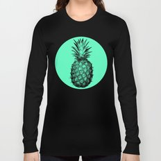Pineapple! Black on mint green Long Sleeve T-shirt