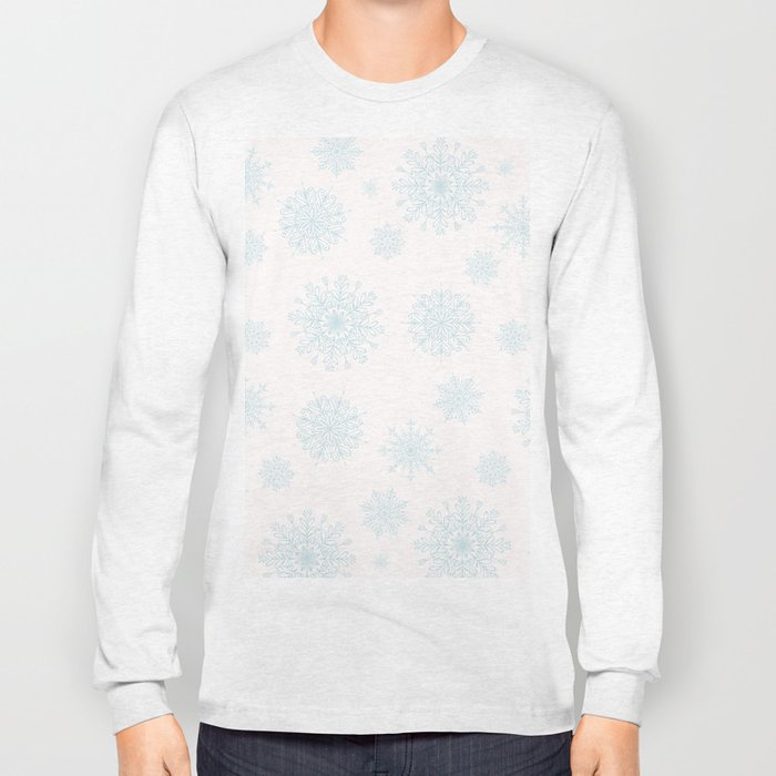 Assorted Light Blue Snowflakes On White Background Long Sleeve T-shirt