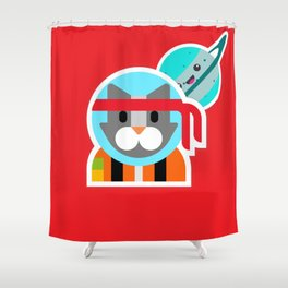 Kung Fu Astro Kitty Shower Curtain