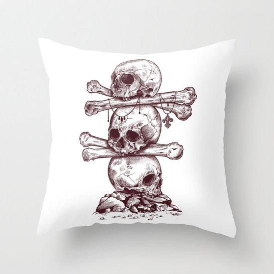 Skull Totem Throw Pillow