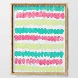 Pastel Finger Print, Mint, Pink, & Yellow Serving Tray