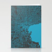melbourne Stationery Cards featuring Melbourne map by Map Map Maps