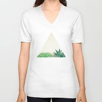 succulent V-neck T-shirts featuring Succulent Forest by Cassia Beck
