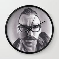 robert farkas Wall Clocks featuring Realism Charcoal Drawing of Artist Damon Lucas Farkas by Brittni DeWeese