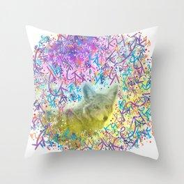 Chromatic Coyote Throw Pillow