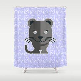 oneechan no kuro neko black cat kitten panther Shower Curtain