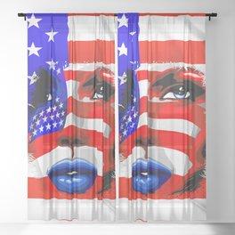 Usa Flag on Girl's Face Sheer Curtain