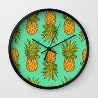 pineapples Wall Clocks featuring Pineapples by Stephanie Keir