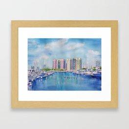 Aqua Towers and Marina in Long Beach Framed Art Print