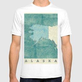Alaska State Map Blue Vintage T-shirt