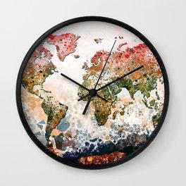 world map colors splats Wall Clock