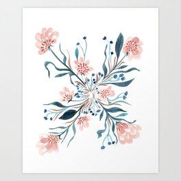 Blush and Blue Floral Pinwheel Art Print