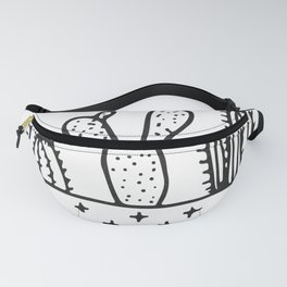 Cactus House Garden Black and White Fanny Pack