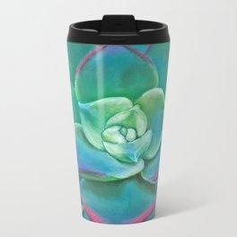 Vibrant Aqua Succulent Plant Metal Travel Mug