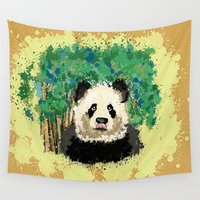 splatter Wall Tapestries featuring Splatter Panda by grapeloverarts