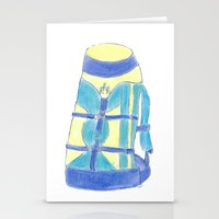 backpack Stationery Cards featuring A backpack yellow by Atelier Pora
