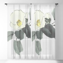 White camellia sumi ink and japanese watercolor painting Sheer Curtain