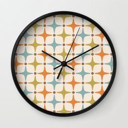 Mid Century Modern Star Pattern 817 Orange Brown Blue and Olive Green Wall Clock
