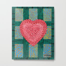 Teal and Pink Energy Heart Metal Print