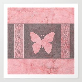 Decorative Pink Paper Texture Butterfly Design Art Print