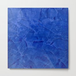 Dark Blue Ombre Burnished Stucco - Faux Finishes - Venetian Plaster Metal Print