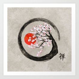 Zen Enso Circle and Sakura Tree on Canvas Art Print