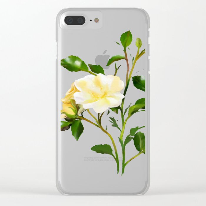 Yellow Watercolor Rose Clear iPhone Case