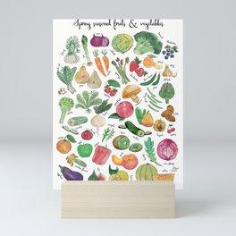 Spring seasonal fruits & vegetables watercolor illustration Mini Art Print
