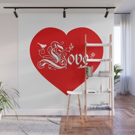 Red Heart Love Wall Mural
