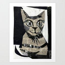 Newspaper Cat Art Print