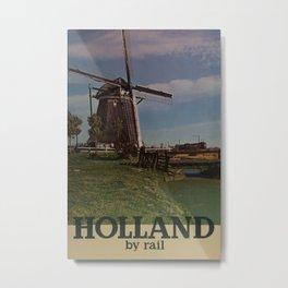 Holland by Rail Vintage Travel Poster Metal Print