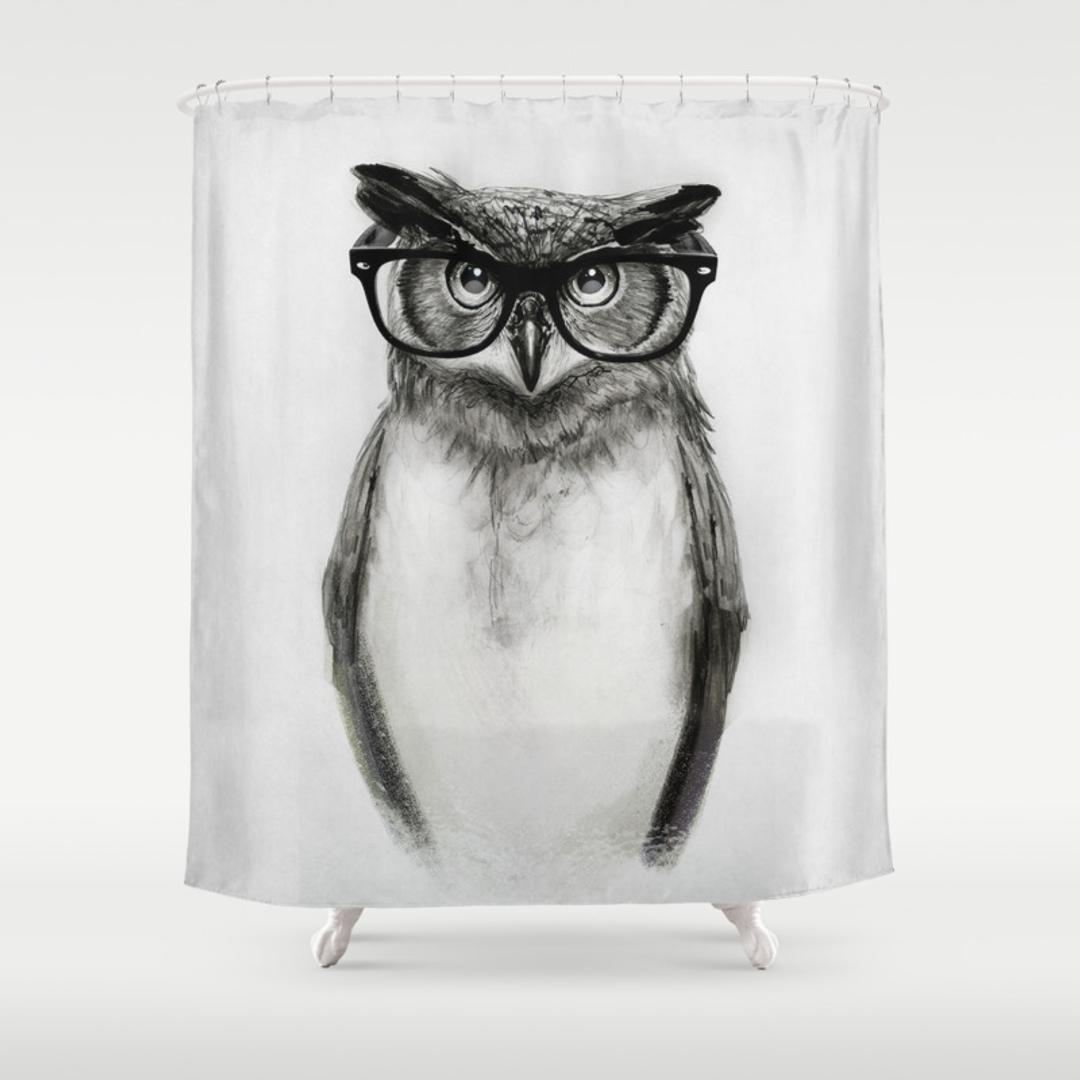 Owl shower curtains - Animals Black White Humor And Illustration Shower Curtains Society6