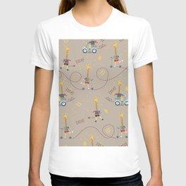 cool giraffe beige background T-shirt