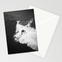 Black and White Wave Surfer Stationery Cards