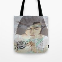"religious Tote Bags featuring ""COME AS A CHILD"", religious art by Saribelle by Saribelle Inspirational Art"