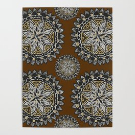 Fall Inspired Black, Brown, and Gold Mandala Textile Pattern Poster