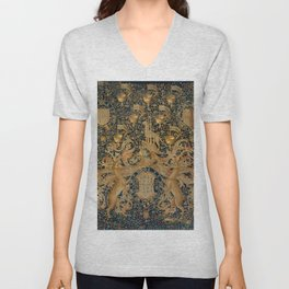 Vintage Golden Deer and Royal Crest Design (1501) Unisex V-Neck