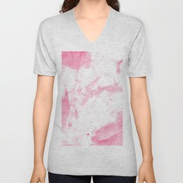 Blush pink white hand painted watercolor brushstrokes Unisex V-Neck