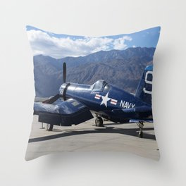 Vintage Historical World War 2 Navy Airplane Throw Pillow