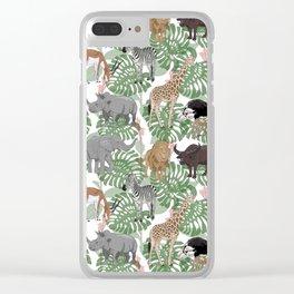 Safari Animals pattern Clear iPhone Case