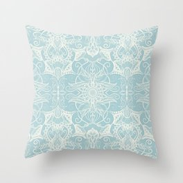 Floral Pattern in Duck Egg Blue & Cream Throw Pillow