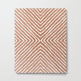 Boho Stripes Pattern (Terracotta and White) Metal Print