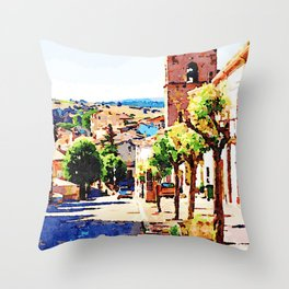 Borrello: foreshortening with bell tower Throw Pillow