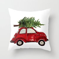 craftberrybush Throw Pillows featuring Red Christmas Beetle  by craftberrybush